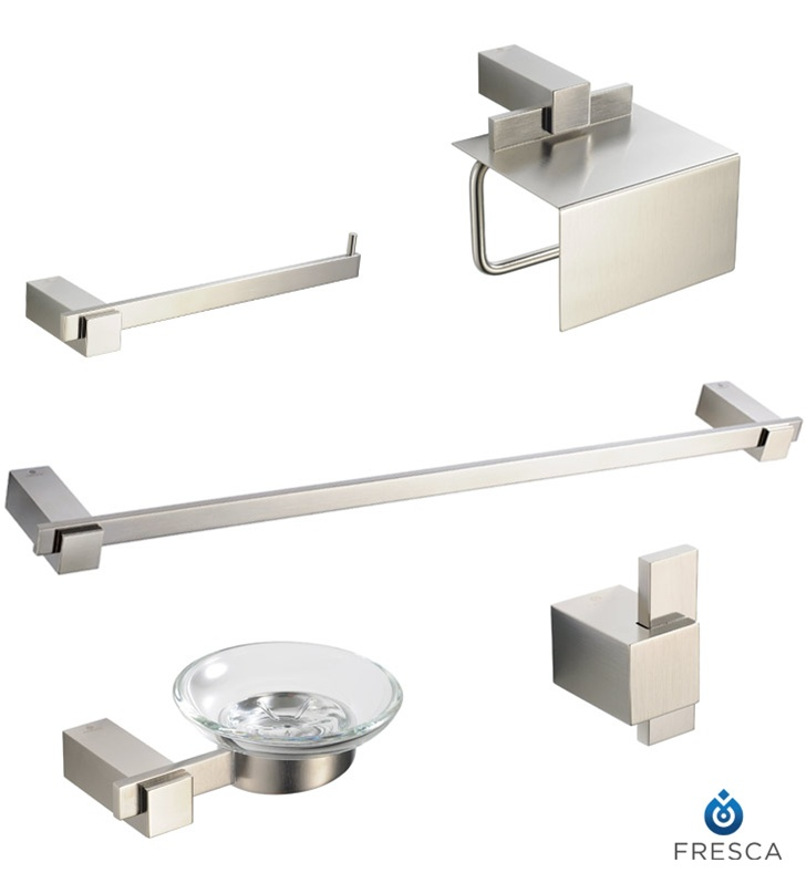 Fresca fac1400bn ellite 5 piece bathroom accessory set in for Cream bathroom accessories set