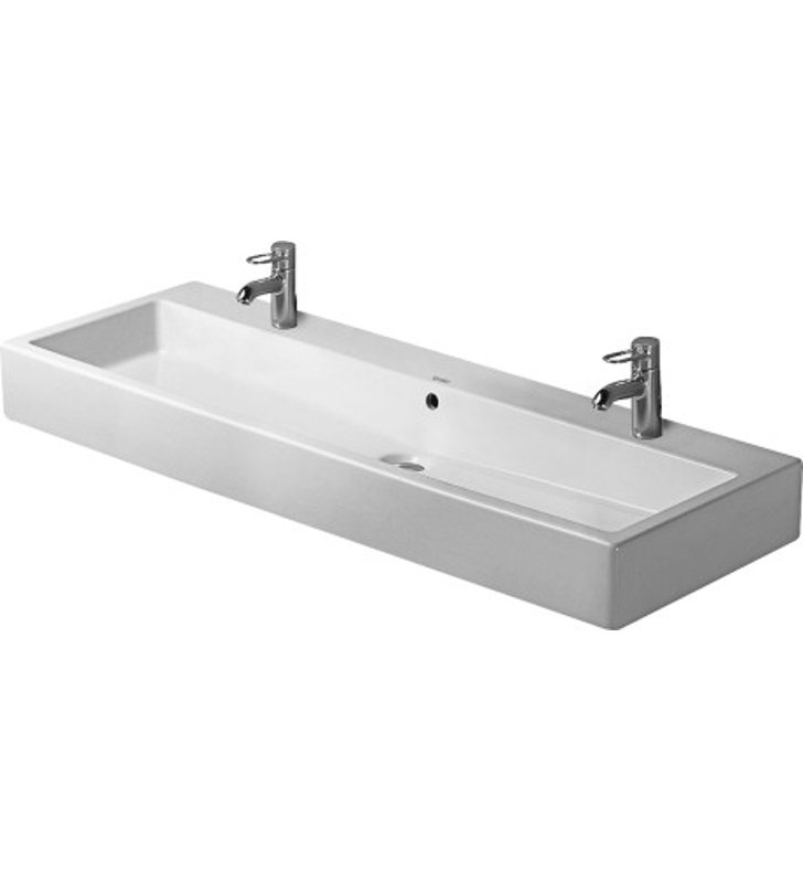 Duravit Vero Wall Mounted Sink : Duravit 04541200261 Vero 47 1/4 inch Wall Mounted Porcelain Bathroom ...