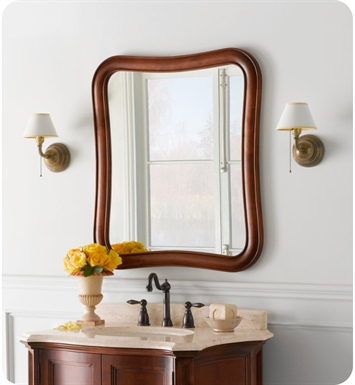 Ronbow 607130 f11 vintage fancy solid wood framed bathroom mirror in colonial cherry for Cherry wood framed bathroom mirrors