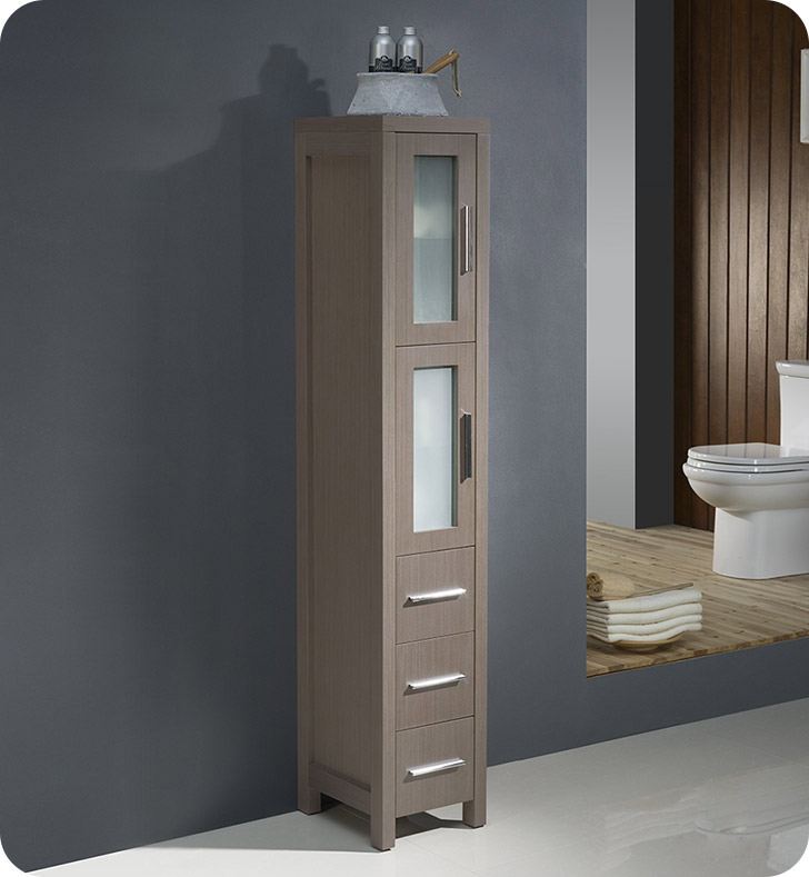Fresca Fst Torino Tall Bathroom Linen Side Cabinet Gray Oak