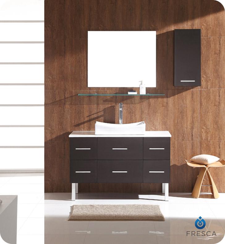 Fresca Fvnes Distante Four Espresso Modern Bathroom Vanity With Mirror And Side Cabinet