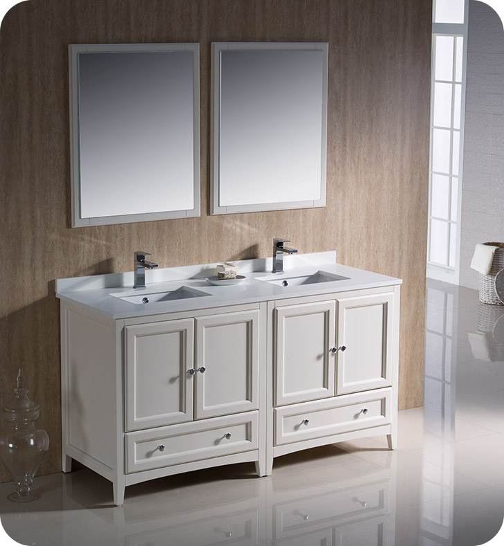 Fresca fvn20 3030aw oxford 60 traditional double sink - Antique white double sink bathroom vanities ...