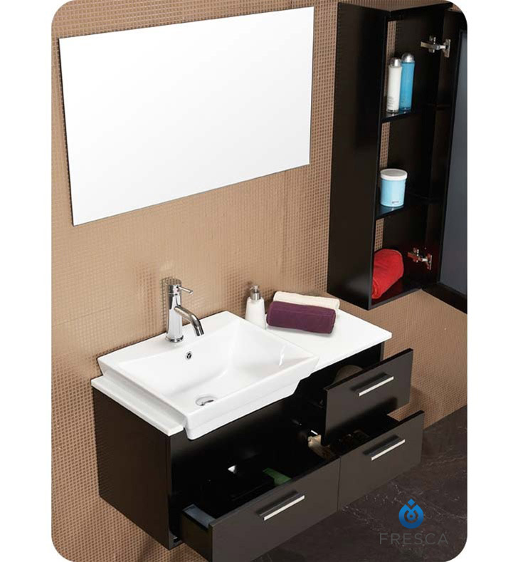 Fresca Fvnes Caro Six Espresso Modern Bathroom Vanity With Mirrored Side Cabinet