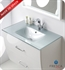 "Fresca Platinum Poeme 31"" Optical Glass Sink/Countertop - Silver"