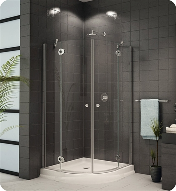"Fleurco P40  Platinum Diva 40"" Corner Round Frameless Shower Door"