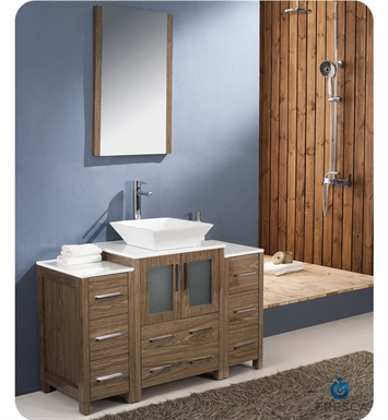 "Fresca FVN62-122412WB-VSL Torino 48"" Modern Bathroom Vanity with 2 Side Cabinets and Vessel Sink in Walnut Brown"