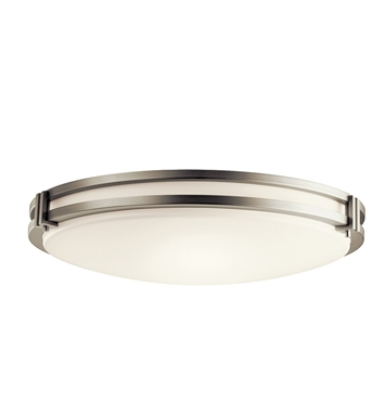 Kichler 10828NI Flush Mount 3 Light Fluorescent in Brushed Nickel