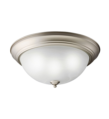 Kichler 10837NI Flush Mount 2 Light Fluorescent in Brushed Nickel