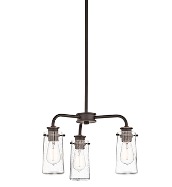 Kichler 43057OZ Braelyn Collection Semi Flush/Chandelier 3 Light in Olde Bronze
