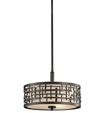 Kichler 43049OZ Loom Collection Semi Flush-Pendant 2 Light in Olde Bronze