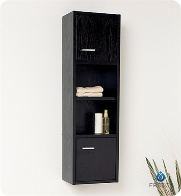 Fresca FST2018WG Black Wenge Wood Finish Bathroom Linen Cabinet with Open Shelves