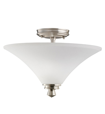 Kichler 3719NI Wharton Collection Semi Flush 2 Light in Brushed Nickel