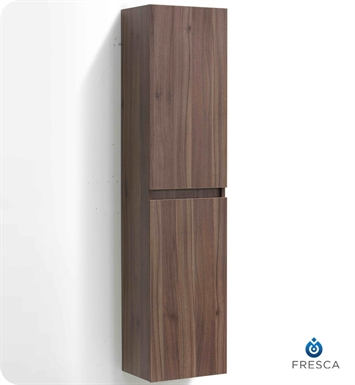 Fresca FST8040WL Light Walnut Bathroom Linen Side Cabinet with Two Cabinets