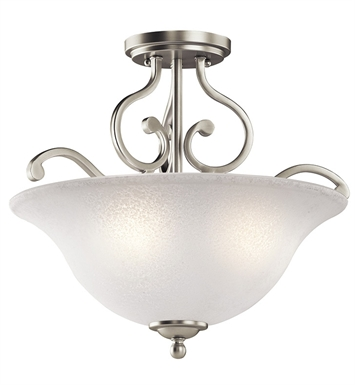 Kichler 43232NI Camerena Collection Semi Flush 3 Light in Brushed Nickel