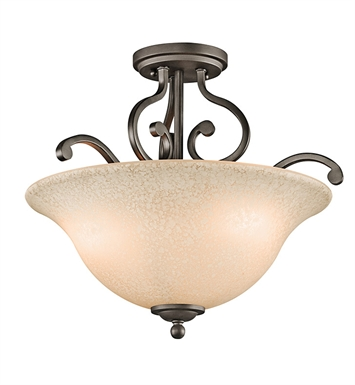 Kichler Camerena Collection Semi Flush 3 Light in Olde Bronze