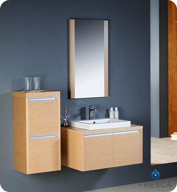 Fresca FVN3030LO Mirano Modern Bathroom Vanity in Light Oak