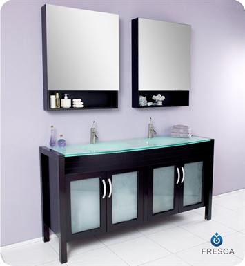 Fresca FVN3307ES Infinito Modern Bathroom Vanity with Tempered Glass Double Sink and Countertop