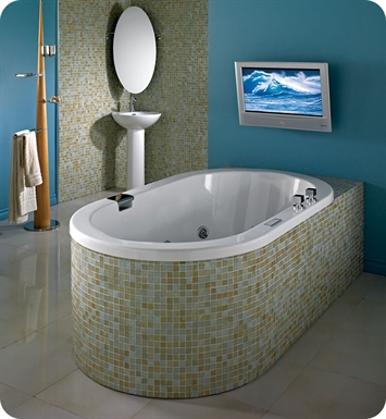 "Neptune TAO3672CA Tao 72"" x 36"" Customizable Oval Bathroom Tub With Jet Mode: Whirlpool + Activ-Air Jets"