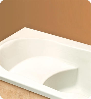 "Neptune EV60T Eva 60"" Customizable Rectangular Bathroom Tub with Integrated Seat With Jet Mode: Whirlpool Jets"