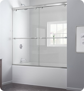 DreamLine DL-6997-04CL Charisma Frameless Sliding Tub Door and Qwall Backwall Kit With Finish: Brushed Nickel And Glass Type: Clear Glass