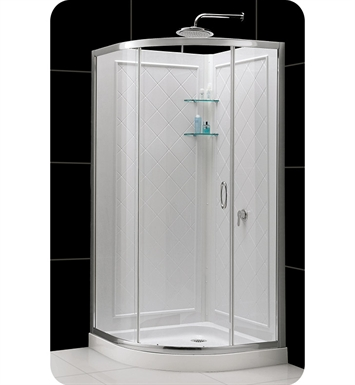 "DreamLine DL-6155-01FR Solo Shower Enclosure Kit with Shower Base and Backwalls With Dimensions: W 33"" x D 33"" x H 76 3/4"" And Finish: Chrome And Glass Type: Frosted Glass"
