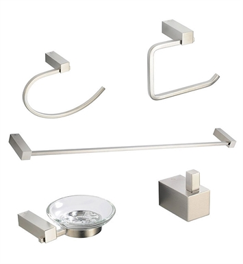 Fresca FAC0400BN Ottimo 5 Piece Bathroom Accessory Set in Brushed Nickel