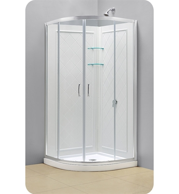 "DreamLine Prime-DL-6153-01CL Prime Shower Enclosure, Base and Backwall Kit With Dimensions: Enclosure: W 34-3/8"" x D 34-3/8"" x H 76-3/4"" 