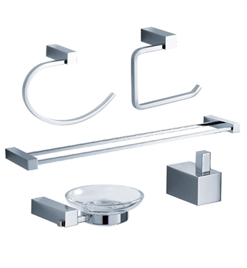 Fresca FAC0400-D Ottimo 5 Piece Bathroom Accessory Set in Chrome with Double Towel Bar