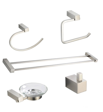 Fresca FAC0400BN-D Ottimo 5 Piece Bathroom Accessory Set in Brushed Nickel with Double Towel Bar
