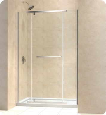 "DreamLine DL-6445C-04CL Vitreo X Shower Door and Base Kit With Dimensions: W 48"" x D 36"" x H 74 3/4"" And Finish: Brushed Nickel And Glass Type: Clear Glass And Drain Position: Center Drain"