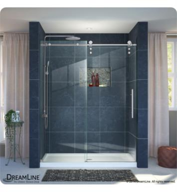 "DreamLine DL-6626L-07CL Enigma-Z Fully Frameless Sliding Shower Door and Single Threshold Shower Base With Finish: Brushed Stainless Steel And Dimensions: W 60"" x D 32"" And Drain Position: Left Hand Drain"