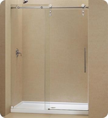"DreamLine DL-6627L-07CL Enigma Z Sliding Shower Door and Base Kit With Dimensions: W 60"" x D 34"" x H 74 3/4"" And Finish: Brushed Stainless Steel And Glass Type: Clear Glass And Drain Position: Left Drain"