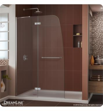"DreamLine DL-6521R-01CL Aqua Ultra Frameless Hinged Shower Door and Base Kit. Single Threshold Shower Base With Dimensions: W 60"" x D 32"" x H 74 3/4"" And Finish: Chrome And Drain Position: Right Hand Drain"