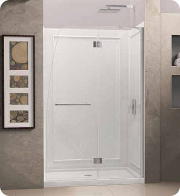 "DreamLine DL-6502L-01CL Aqua Shower Door and Base Kit With Dimensions: W 60"" x D 34"" x H 74 3/4"" And Finish: Chrome And Glass Type: Clear Glass And Drain Position: Left Drain"