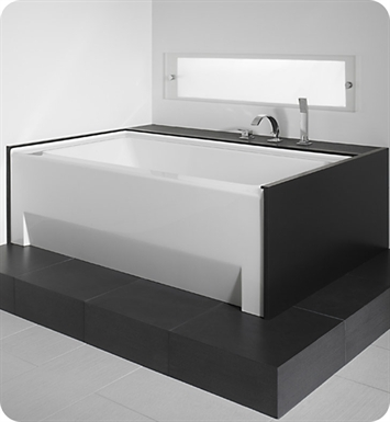 "Neptune ZO3666CMAD Zora 66"" x 36"" Customizable Rectangular Bathroom Tub with Skirt With Jet Mode: Mass-Air + Activ-Air Jets And Drain Position: Right Side - Integrated Tiling Flange"