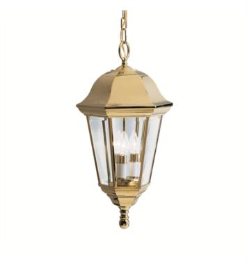 Kichler 9889PB Grove Mill 3 Light Incandescent Outdoor Hanging Pendant in Polished Brass
