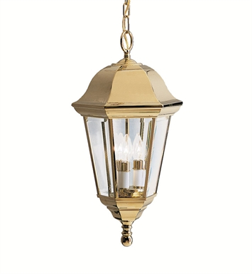 Kichler 9889PB Outdoor Hanging Pendant 3 Light in Polished Brass