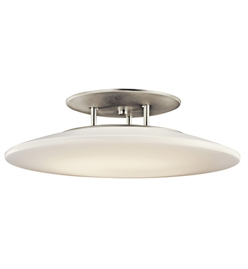 Kichler 10898NI Ara Collection Semi Flush 1 Light Fluorescent in Brushed Nickel