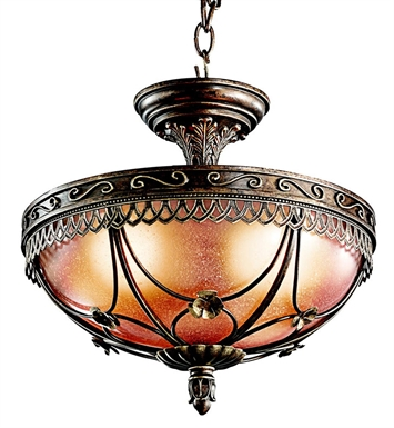 Kichler 42231TRZ Semi Flush 3 Light in Terrene Bronze