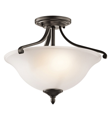 Kichler 43406OZ Wellington Square Collection Semi-Flush 2 Light in Olde Bronze