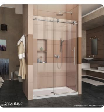 "DreamLine DL-6622L-08CL Enigma-X Fully Frameless Sliding Shower Door and Single Threshold Shower Base With Finish: Polished Stainless Steel And Dimensions: W 60"" x D 34"" x H 78 3/4"" And Drain Position: Left Drain"