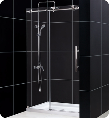 "DreamLine DL-6619C-07CL Enigma X Sliding Shower Door and Base Kit With Dimensions: W 48"" x D 36"" x H 78 3/4"" And Finish: Brushed Stainless Steel And Glass Type: Clear Glass And Drain Position: Center Drain"