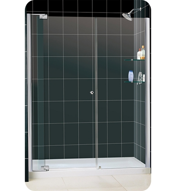 "DreamLine DL-6434L-01CL Allure Frameless Pivot Shower Door Single Threshold Shower Base With Finish: Chrome And Dimensions: W 60"" x D 34"" x H 75 3/4"" And Drain Position: Left Hand Drain"