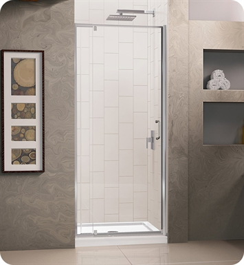 "DreamLine Flex-DL-6215C-01CL Flex Shower Door and Base Kit With Dimensions: W 32"" x D 32"" x H 74 3/4"" And Finish: Chrome And Glass Type: Clear Glass And Drain Position: Center Drain"