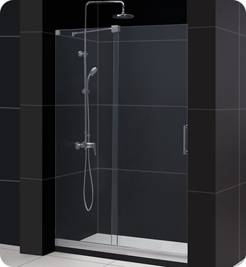 "DreamLine DL-6439L-01CL MIRAGE Sliding Shower Door and Base Kit With Dimensions: W 60"" x D 34"" x H 74 3/4"" And Finish: Chrome And Glass Type: Clear Glass And Drain Position: Left Drain"