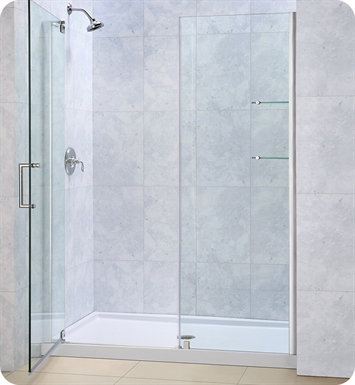 "DreamLine Elegance-DL-6200C-01CL Elegance Shower Door and Base Kit With Dimensions: W 32"" x D 32"" x H 75 3/4"" And Finish: Chrome And Glass Type: Clear Glass And Drain Position: Center Drain"