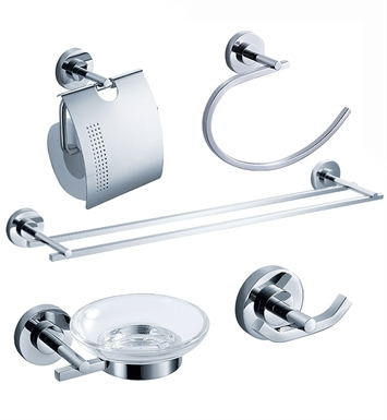 Fresca FAC0800-D Alzato 5 Piece Bathroom Accessory Set in Chrome with Double Towel Bar