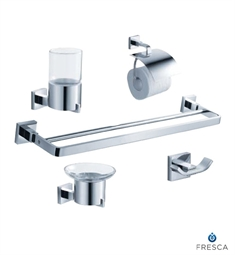 Fresca FAC1100-D Glorioso 5 Piece Bathroom Accessory Set in Chrome with Double Towel Bar