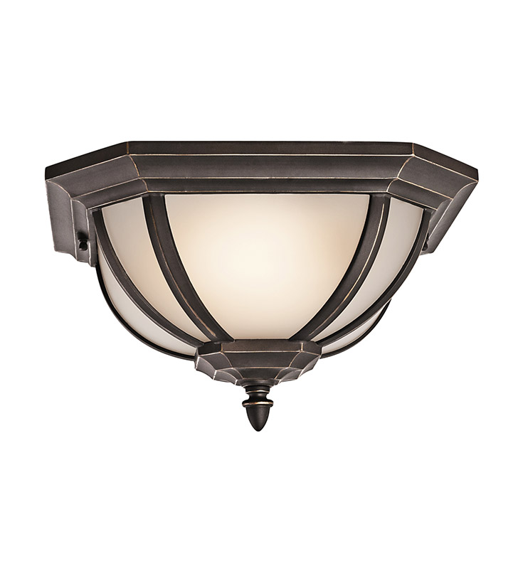 Kichler 9848RZ Outdoor Flush Mount 2 Light in Rubbed Bronze