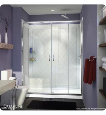 "DreamLine DL-6114R-01CL Visions Frameless Sliding Shower Door, Single Threshold Shower Base and QWALL-5 Shower Backwall Kit With Dimensions: D 34"" And Finish: Chrome And Drain Position: Right Hand Drain"